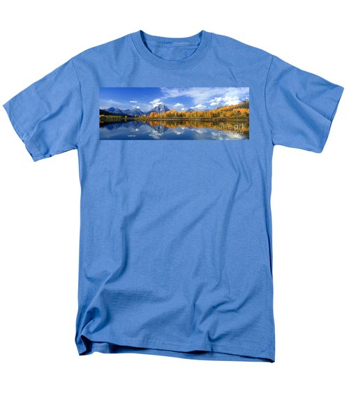Panorama Fall Morning At Oxbow Bend Grand Tetons National Park Men's T-Shirt  (Regular Fit) by Dave Welling