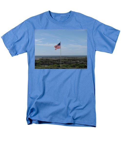 Patriotic Beach View Men's T-Shirt  (Regular Fit) by Ellen Meakin