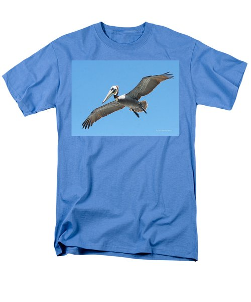 Men's T-Shirt  (Regular Fit) featuring the photograph Pelican Landing On  Pier by Tom Janca