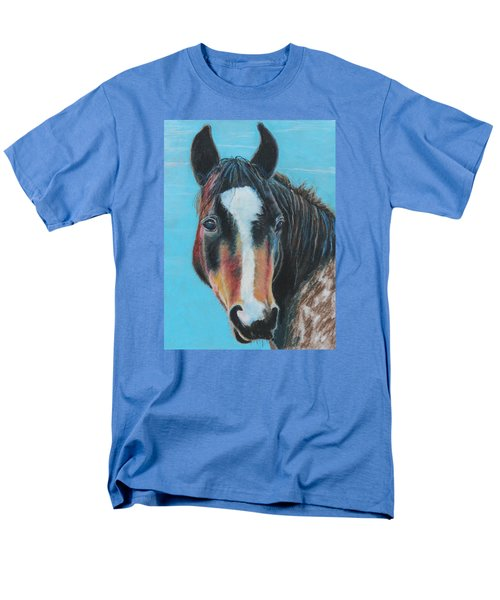 Men's T-Shirt  (Regular Fit) featuring the painting Portrait Of A Wild Horse by Jeanne Fischer