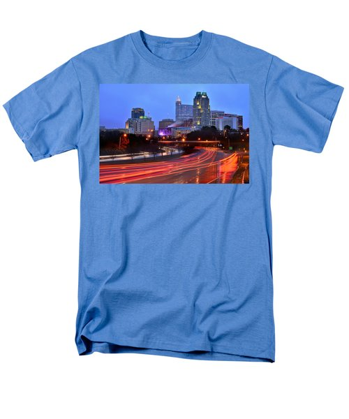 Men's T-Shirt  (Regular Fit) featuring the photograph Raleigh Skyline At Dusk Evening Color Evening Panorama North Carolina Nc by Jon Holiday
