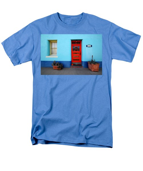 Red Door On Blue Wall Men's T-Shirt  (Regular Fit) by Joe Kozlowski