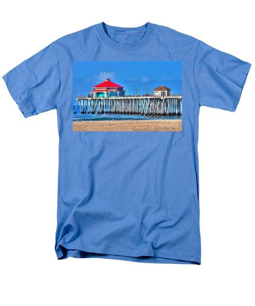 Ruby's Surf City Diner - Huntington Beach Pier Men's T-Shirt  (Regular Fit) by Jim Carrell