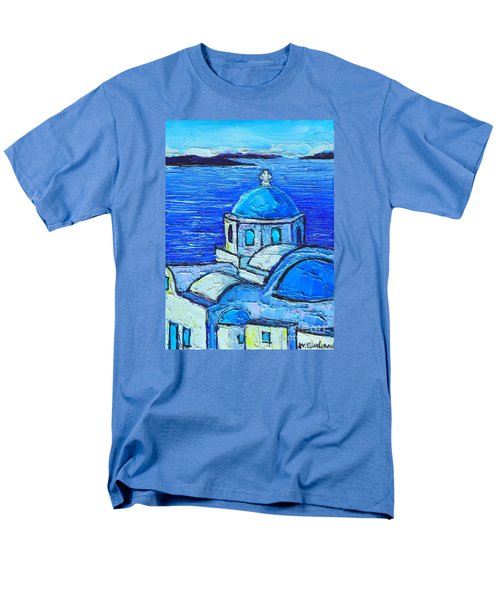 Santorini  Blue Men's T-Shirt  (Regular Fit) by Ana Maria Edulescu