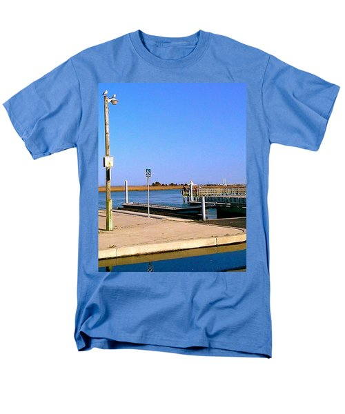 Men's T-Shirt  (Regular Fit) featuring the photograph Sea Gulls Watching Over The Wetlands by Amazing Photographs AKA Christian Wilson