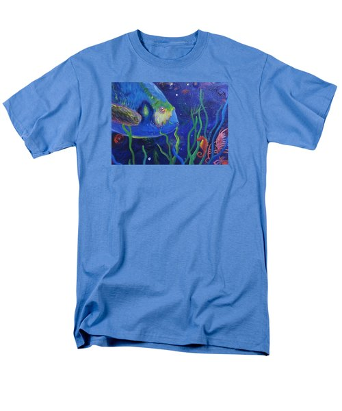 Sea Horse And Blue Fish Men's T-Shirt  (Regular Fit) by Anne Marie Brown