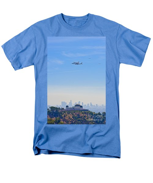 Space Shuttle Endeavour And Chase Planes Over The Griffith Observatory Men's T-Shirt  (Regular Fit) by David Zanzinger