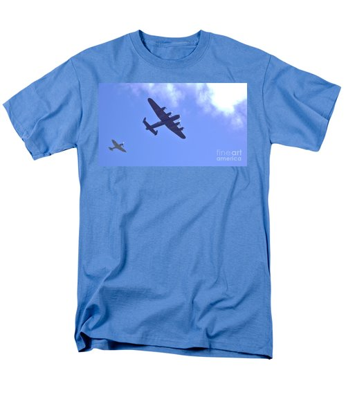 Men's T-Shirt  (Regular Fit) featuring the photograph Spitfire  Lancaster Bomber by John Williams