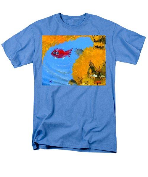 Swimming Of A Yellow Cat Men's T-Shirt  (Regular Fit) by Marina Gnetetsky