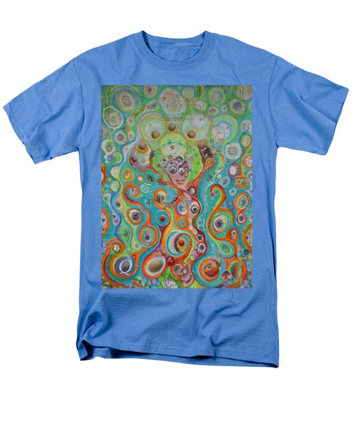 Men's T-Shirt  (Regular Fit) featuring the mixed media The Juggler Of Junkadelphia by Douglas Fromm