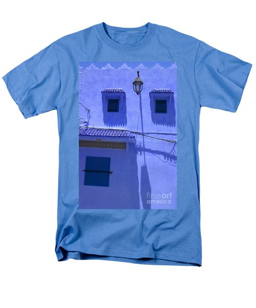 Men's T-Shirt  (Regular Fit) featuring the photograph Typical Blue Facade In The Medina Of Asilah On Northwest Tip Of Atlantic Coast Of Morocco by Ralph A  Ledergerber-Photography