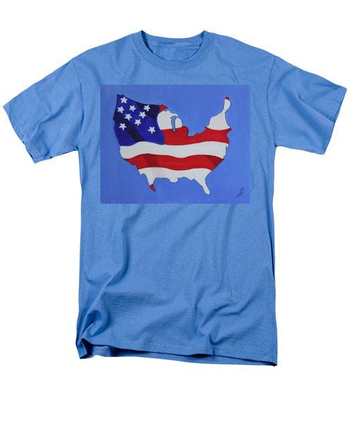 Men's T-Shirt  (Regular Fit) featuring the painting Us Flag by Lorna Maza