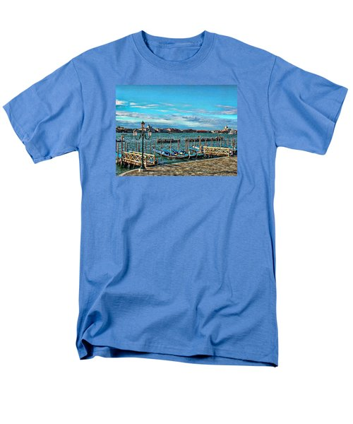 Men's T-Shirt  (Regular Fit) featuring the photograph Venice Gondolas On The Grand Canal by Kathy Churchman