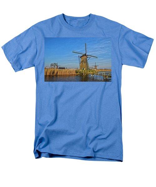 Windmills And Bridge Near Kinderdijk Men's T-Shirt  (Regular Fit) by Frans Blok