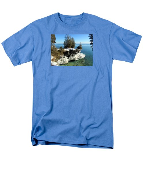 Winter At Cave Point Men's T-Shirt  (Regular Fit) by David T  Wilkinson