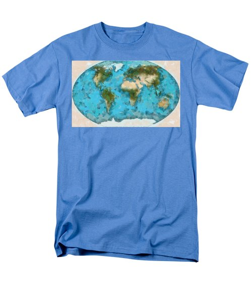 Men's T-Shirt  (Regular Fit) featuring the painting World Map Cartography by Georgi Dimitrov
