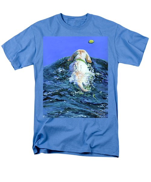 Yellow Lab  Blue Wake Men's T-Shirt  (Regular Fit) by Molly Poole