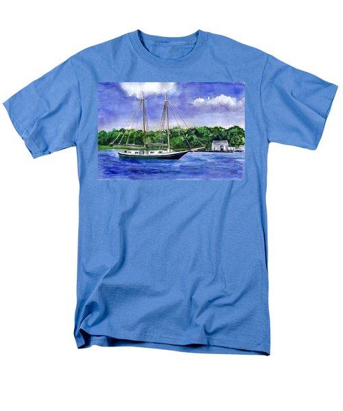 Men's T-Shirt  (Regular Fit) featuring the painting Cedar Beach Schooner by Clara Sue Beym