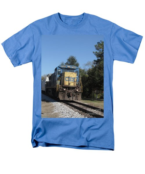Men's T-Shirt  (Regular Fit) featuring the photograph Coming Down The Track by Donna Brown