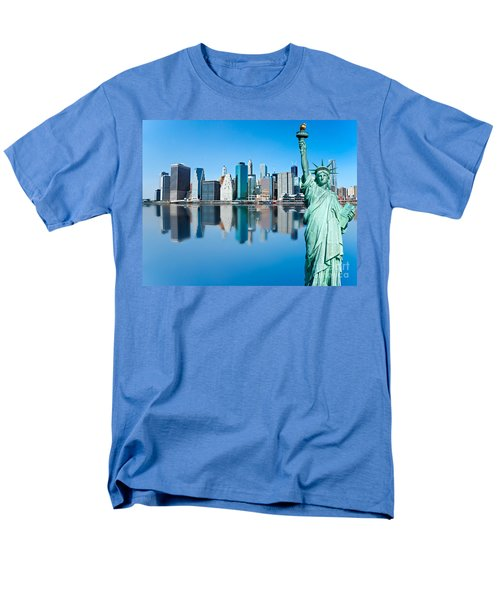 Men's T-Shirt  (Regular Fit) featuring the photograph Manhattan Liberty by Luciano Mortula