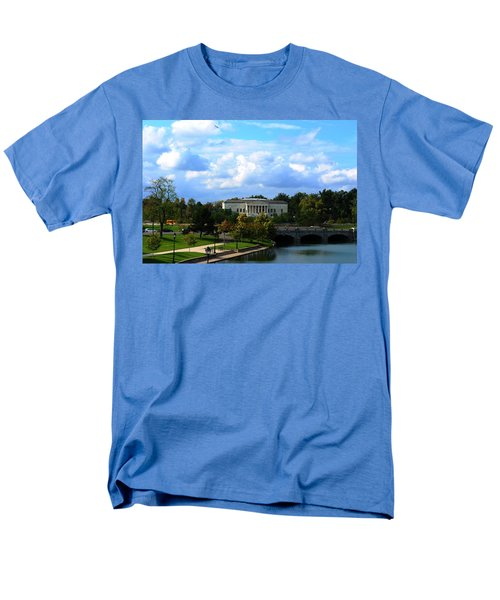 Men's T-Shirt  (Regular Fit) featuring the photograph Rose Garden And Hoyt Lake by Michael Frank Jr