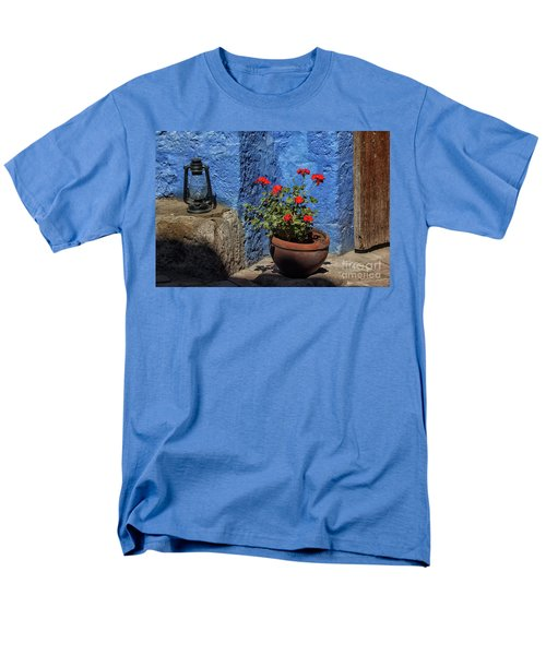Men's T-Shirt  (Regular Fit) featuring the photograph Red Geranium Near A Blue Wall by Patricia Hofmeester