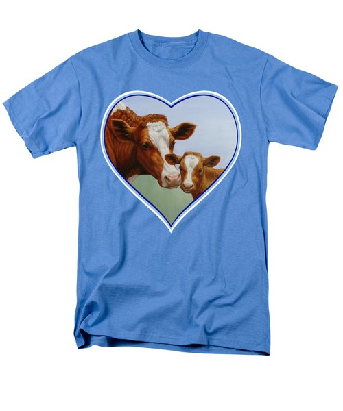 Cow And Calf Blue Heart Men's T-Shirt  (Regular Fit) by Crista Forest
