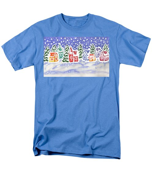 Winter Landscape With Multicolor Houses, Painting Men's T-Shirt  (Regular Fit) by Irina Afonskaya