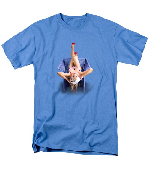 Men's T-Shirt  (Regular Fit) featuring the photograph American Pinup Woman Upside Down On Cane Chair by Jorgo Photography - Wall Art Gallery