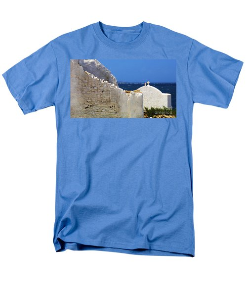 Men's T-Shirt  (Regular Fit) featuring the photograph Architecture Mykonos Greece 2 by Bob Christopher