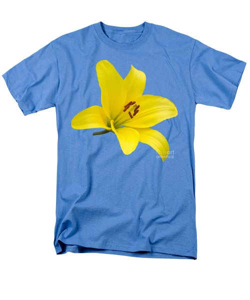 Men's T-Shirt  (Regular Fit) featuring the photograph Yellow Asiatic Lily On Blue by Jane McIlroy