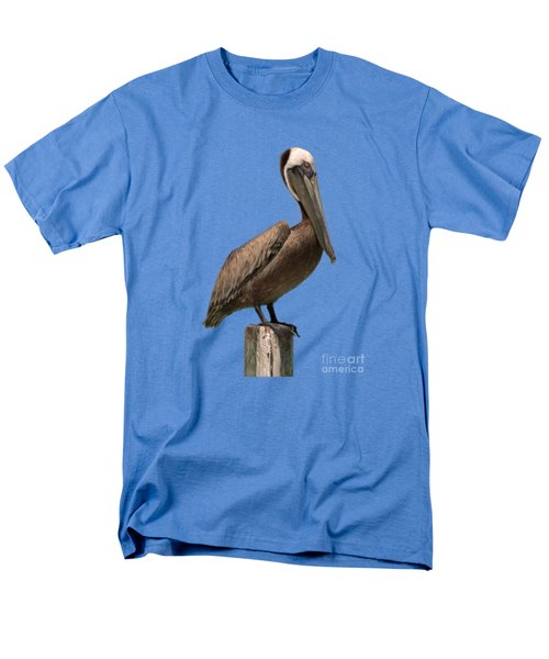 Pelican Perched On A Piling Men's T-Shirt  (Regular Fit) by John Harmon