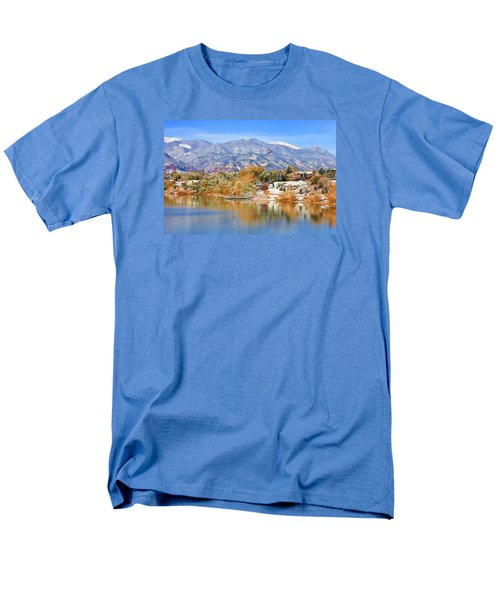 Men's T-Shirt  (Regular Fit) featuring the photograph Autumn Snow At The Lake by Diane Alexander