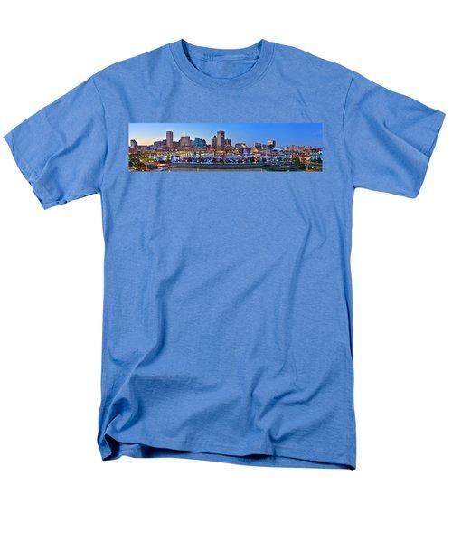 Baltimore Skyline Inner Harbor Panorama At Dusk Men's T-Shirt  (Regular Fit) by Jon Holiday