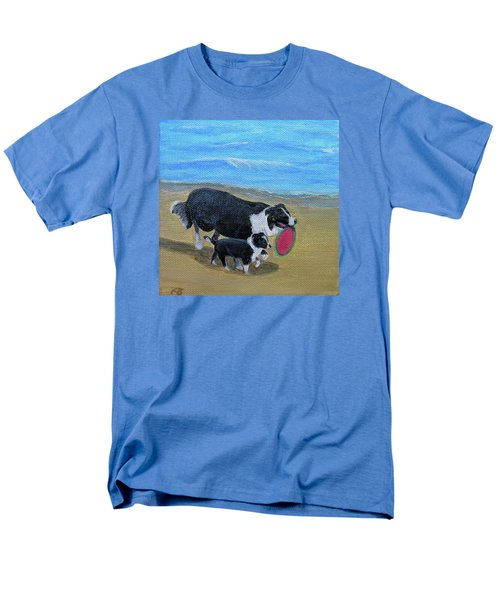 Men's T-Shirt  (Regular Fit) featuring the painting Beach Frisbee by Fran Brooks