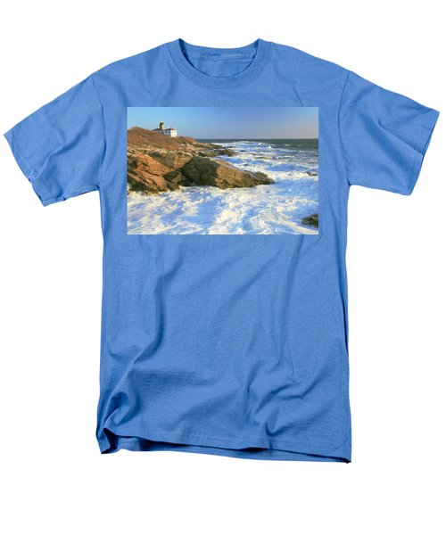 Beavertail Point And Lighthouse  Men's T-Shirt  (Regular Fit) by Roupen  Baker