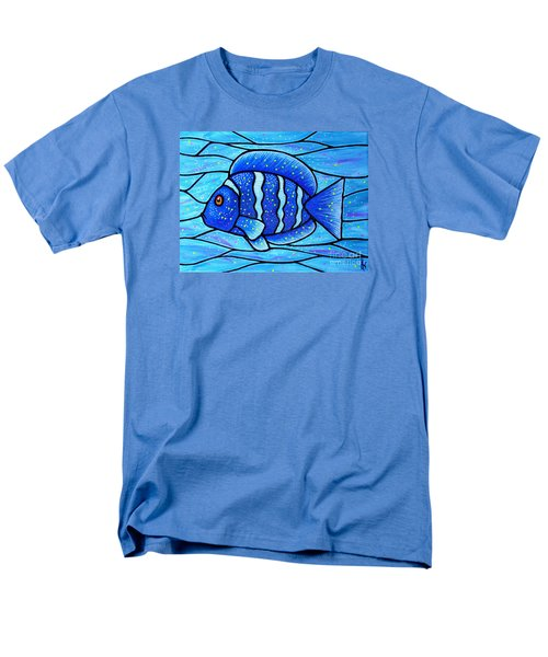 Men's T-Shirt  (Regular Fit) featuring the painting Beckys Blue Tropical Fish by Jim Harris