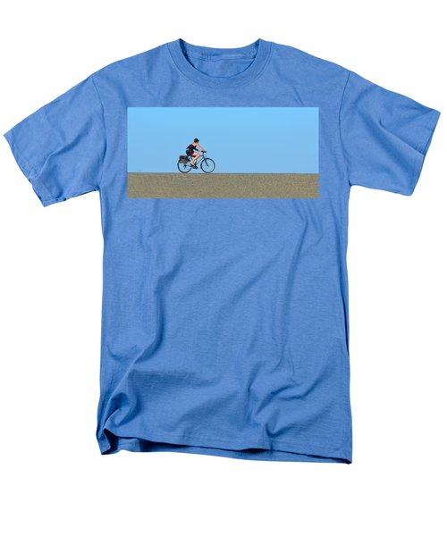 Bike Rider On Levee Men's T-Shirt  (Regular Fit) by Josephine Buschman