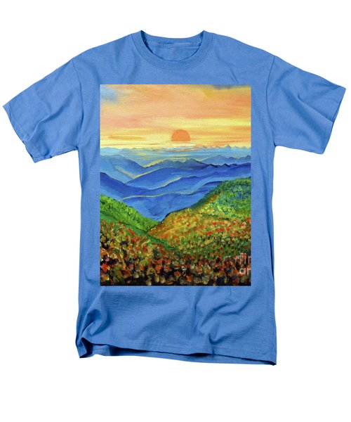 Men's T-Shirt  (Regular Fit) featuring the painting Blue Ridge Mountain Morn by Ecinja Art Works