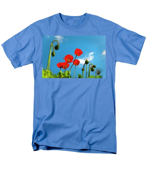 Men's T-Shirt  (Regular Fit) featuring the photograph Blue Sky And Poppies by Tamyra Ayles