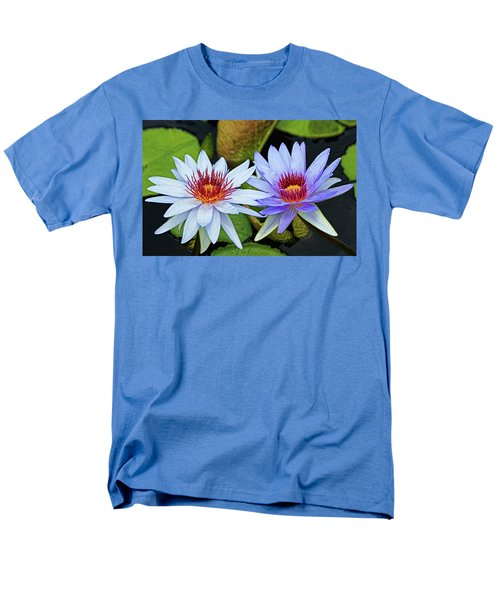 Men's T-Shirt  (Regular Fit) featuring the photograph Blue Water Lilies by Judy Vincent