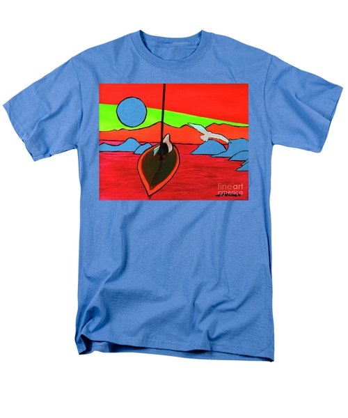 Boat, Bird And Moon Men's T-Shirt  (Regular Fit) by Jeanette French