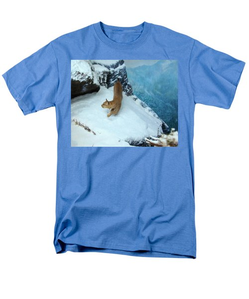 Men's T-Shirt  (Regular Fit) featuring the digital art Bobcat On A Mountain Ledge by Chris Flees