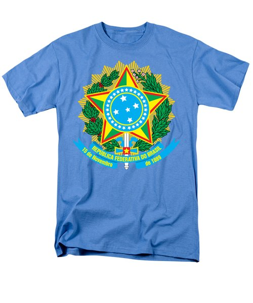 Men's T-Shirt  (Regular Fit) featuring the drawing Brazil Coat Of Arms by Movie Poster Prints