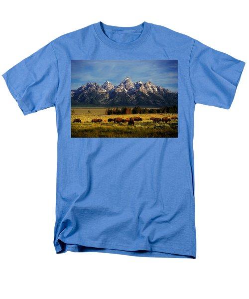Buffalo Under Tetons Men's T-Shirt  (Regular Fit) by Leland D Howard