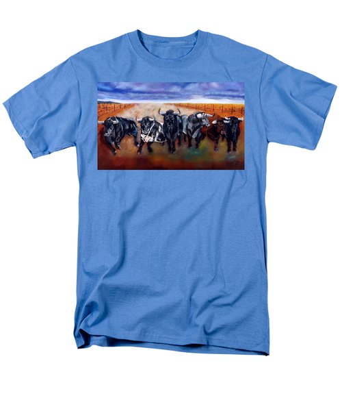 Bull Stampede Men's T-Shirt  (Regular Fit) by Manuel Sanchez