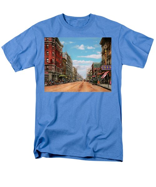 Men's T-Shirt  (Regular Fit) featuring the photograph City - Memphis Tn - Main Street Mall 1909 by Mike Savad