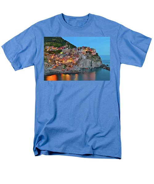 Men's T-Shirt  (Regular Fit) featuring the photograph Colorful Buildings Colorful Lights by Frozen in Time Fine Art Photography