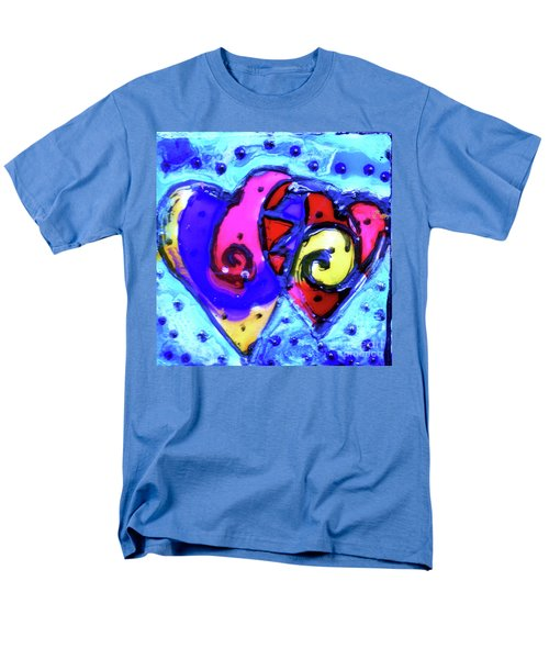 Men's T-Shirt  (Regular Fit) featuring the painting Colorful Hearts Equals Crazy Hearts by Genevieve Esson