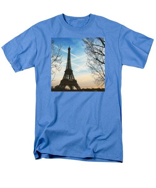 Eiffel Tower And Contrails Men's T-Shirt  (Regular Fit) by Aurella FollowMyFrench
